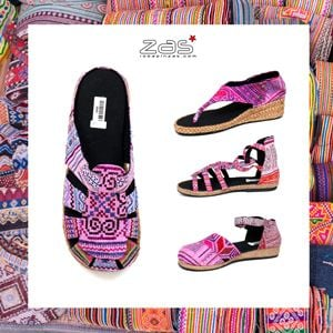 SANDALS AND CLOGS WITH FABRICS OF THE HMONG TRIBES