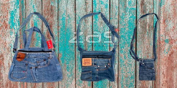 bolsos fabricados con jean vaqueros reciclados