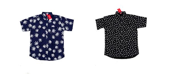 Camisas con hojas de marihuana