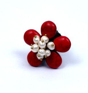 Anillo con forma de flor realizado con piedras de colores formando Comprar - Venta Mayorista y detalle