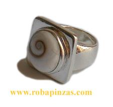 Anillo de plata 925, aprox 17 gr, robusto, Ojo de shiva de gran calidad y belleza engarzado. - detalle Comprar al mayor o detalle