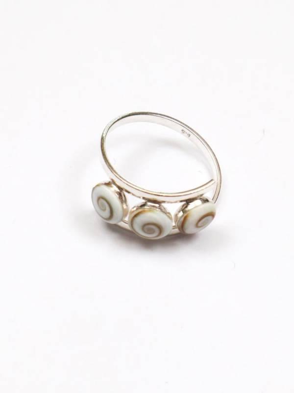 Anillo de Plata con 3 Ojos de Shiva engarzados [ANOJ02] para comprar al por Mayor o Detalle en la categoría de Ojo de Shiva - Plata