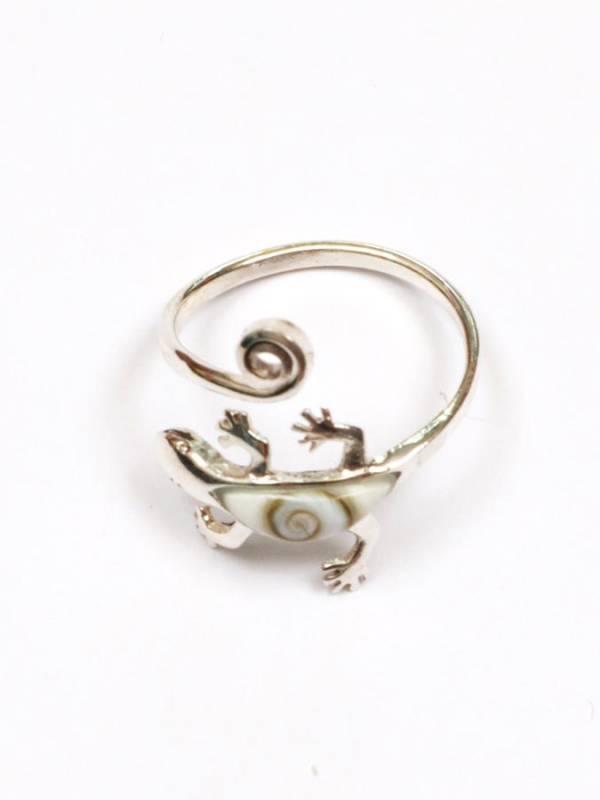 Anillo de Plata con forma de Gecko y Ojo de Shiva [ANOJ03] para comprar al por Mayor o Detalle en la categoría de Ojo de Shiva - Plata