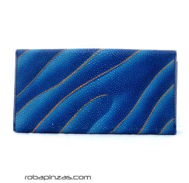 Billetero de piel pez raya (criados en cautividad) de señora, tamaño grande multiples compartimentos para monedas tarjetas etc - DETALLE Comprar al mayor o detalle