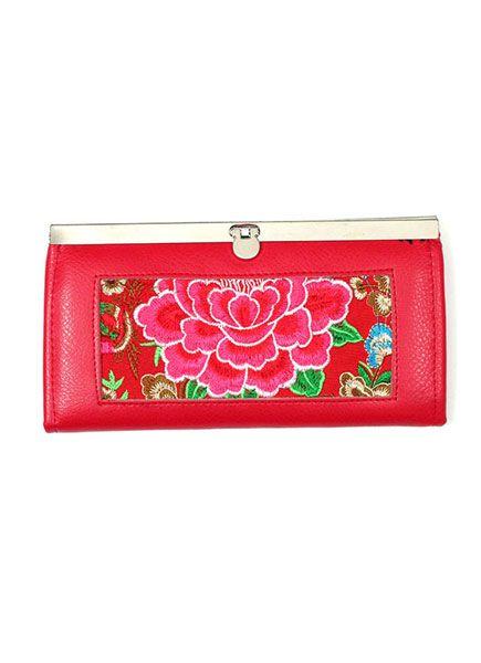 Cartera billetera de mujer realizada con cuero y telas étnicas Comprar - Venta Mayorista y detalle