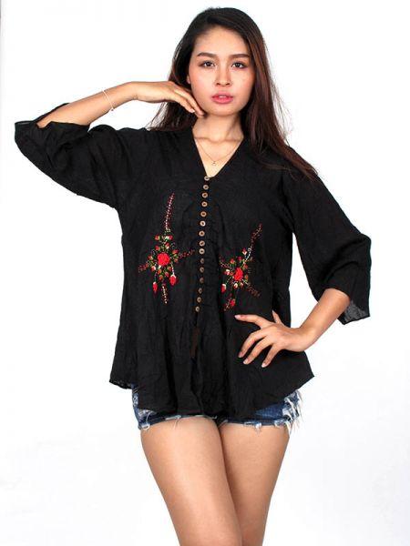 Camisetas y Tops Hippies - Blusa Étnica Bordado Flores BLAO01 para comprar al por Mayor o Detalle en la categoría de Ropa Hippie Alternativa para Mujer