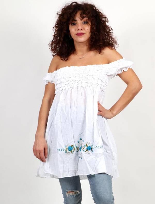 Vestido corto con bordado de flores y botones de coco . Talla única. Comprar - Venta Mayorista y detalle