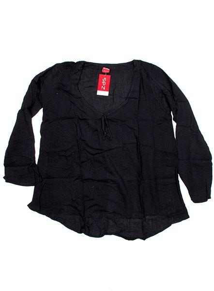 Blusa de algodón manga larga - Negro Comprar al mayor o detalle