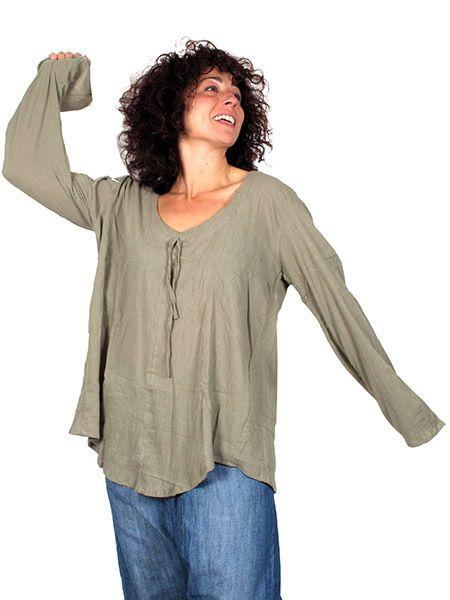 Camisetas y Tops Hippies - Blusa de algodón manga larga BLEV02 para comprar al por Mayor o Detalle en la categoría de Ropa Hippie Alternativa para Mujer