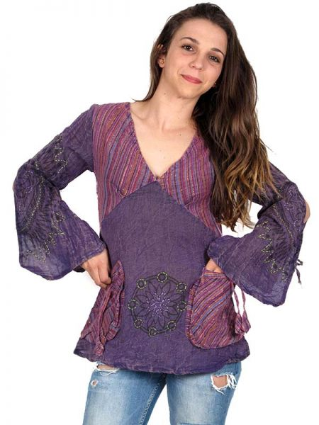 Blusa hippie de algodón creppe manga larga, con manga ancha Comprar - Venta Mayorista y detalle
