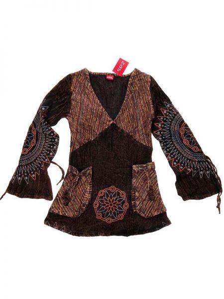Blusa Hippie maga ancha - Marrón Comprar al mayor o detalle