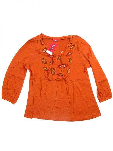 Outlet Ropa Hippie - Blusa hippie de rayón BLEV05 - Modelo Naranja