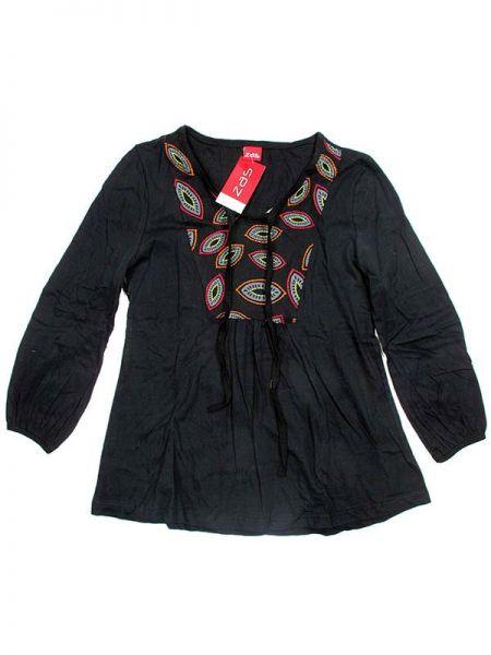 Blusa Hippie bordada - Negro Comprar al mayor o detalle