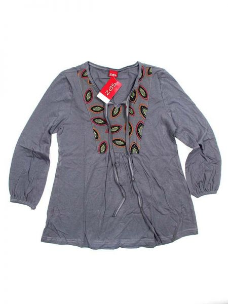 Outlet Ropa Hippie - Blusa hippie de rayón BLEV05 - Modelo Gris