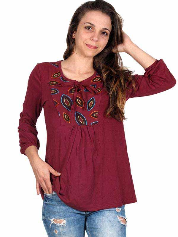 Top y Blusas Hippie Boho Ethnic - Blusa Hippie bordada BLEV05 para comprar al por Mayor o Detalle en la categoría de Ropa Hippie Alternativa para Chicas