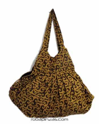 Bolso de algodón estampado de mano u hombro con compartimento interior Comprar - Venta Mayorista y detalle