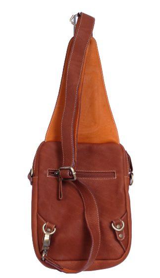 Bolso bandolera de piel, con varios compartimentos y bolsillos para llevar en la espalda o en el pecho - Detalle Comprar al mayor o detalle