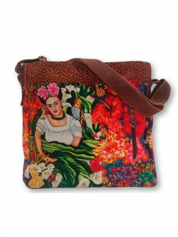 Bolso Grande Estampados Frida Kahlo. [BOCT04] para comprar al por Mayor o Detalle en la categoría de Outlet de Bolsos y Otros artículos hippies