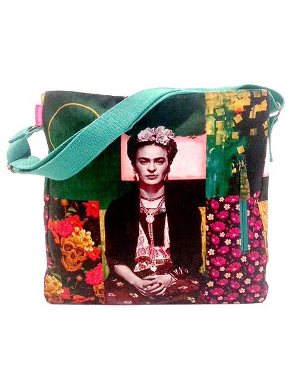 Colección Catkini - Frida Kahlo - Bolso Grande Estampados Frida Kahlo. [BOCT04] para comprar al por mayor o detalle  en la categoría de Complementos Hippies Étnicos Alternativos.