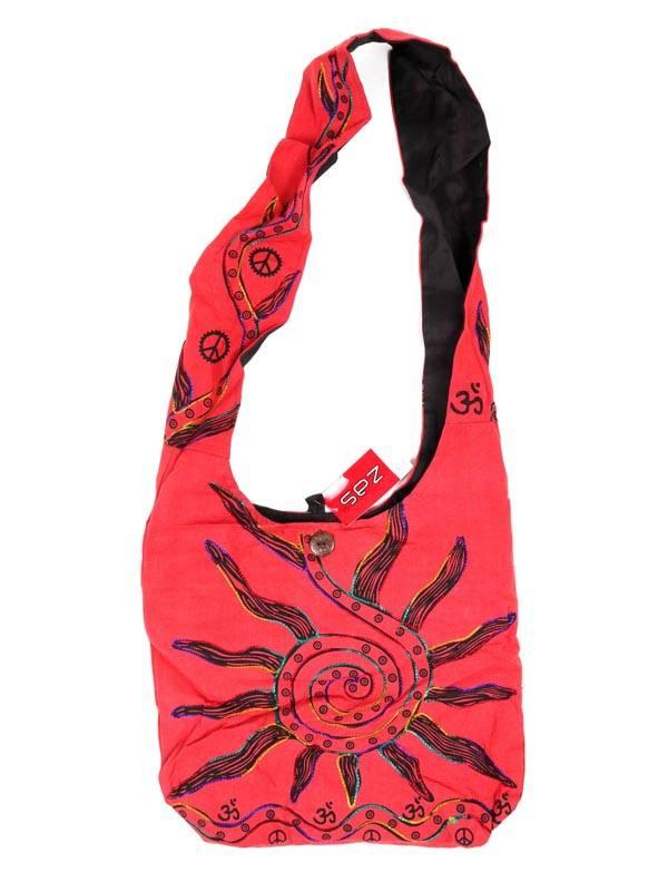 Bolso bandolera grande con Sol Bordado [BOKA03] para comprar al por Mayor o Detalle en la categoría de Bolsos y Mochilas Hippies