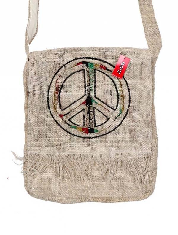 Bolsos y Mochilas Hippies - Bolso de Cáñamo símbolo PAZ [BOKA16B] para comprar al por mayor o detalle  en la categoría de Complementos Hippies Alternativos.