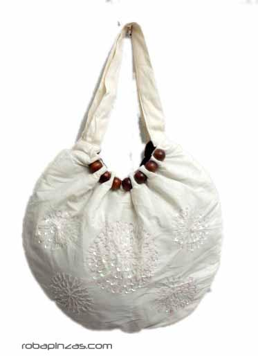 Bolso de mano/hombro de algodón con bordados en lentejuelas y adornos Comprar - Venta Mayorista y detalle
