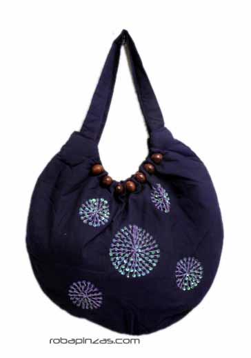 Bolso de mano/hombro de algodón con bordados en lentejuelas Comprar - Venta Mayorista y detalle