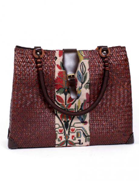 bolso de rafia con detalles étnicos y terminación Comprar - Venta Mayorista y detalle