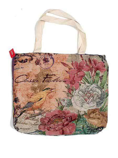 Bolso de loneta ligera con estampados de animales flores , con cierre Comprar - Venta Mayorista y detalle