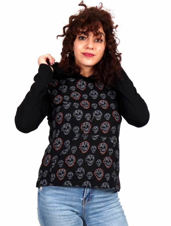 Camisetas de Manga Larga - Camiseta con Calaveras y Capucha CACEV04 para comprar al por Mayor o Detalle en la categoría de Ropa Hippie para Mujer