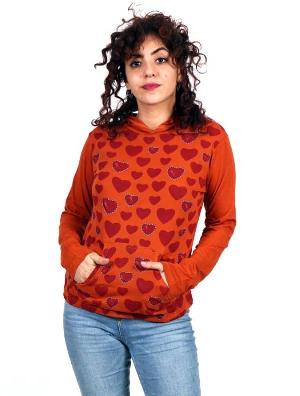 Camisetas de Manga Larga - Camiseta con corazones y capucha CACEV05 para comprar al por Mayor o Detalle en la categoría de Ropa Hippie para Mujer