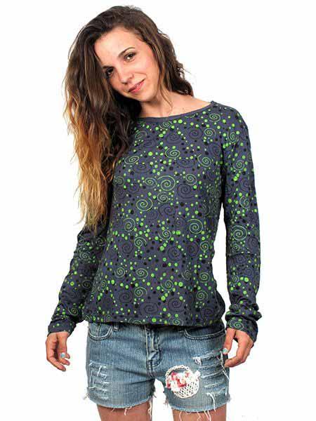 Camiseta de rayón de manga larga con estampados de espirales. Comprar - Venta Mayorista y detalle