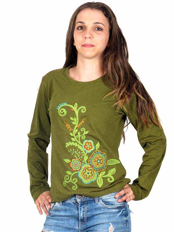 Camisetas de Manga Larga - Camiseta M Larga bordada [CAEV05] para comprar al por mayor o detalle  en la categoría de Ropa Hippie Alternativa para Mujer.