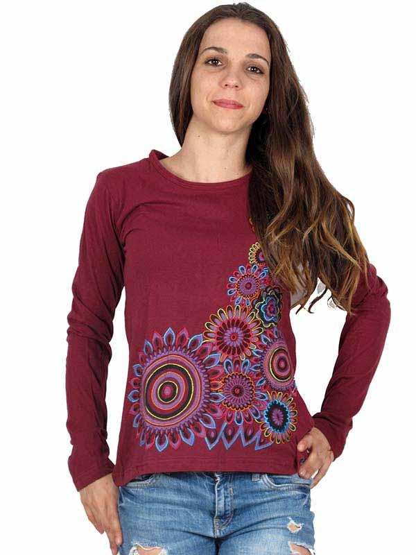 Camiseta M Larga bordados mandalas CAEV06 para comprar al por mayor o detalle  en la categoría de Ropa Hippie Alternativa para Mujer.