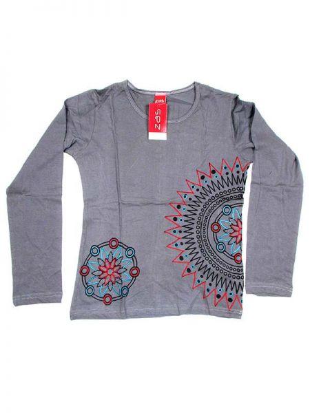 Camiseta M Larga bordados mandala - Gris Comprar al mayor o detalle