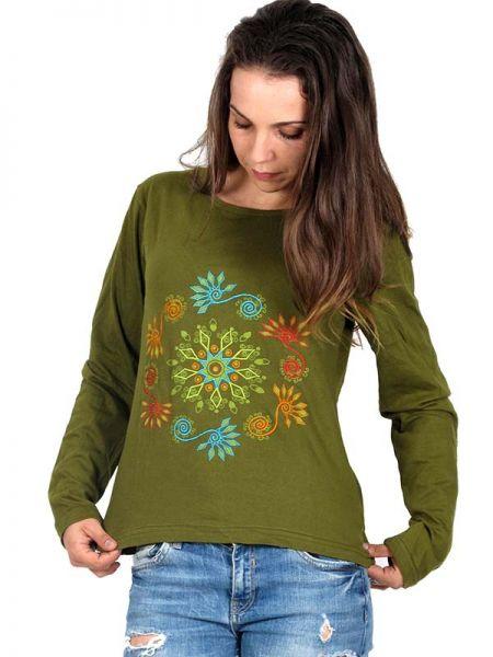 Camiseta M Larga bordados Flores - Detalle Comprar al mayor o detalle