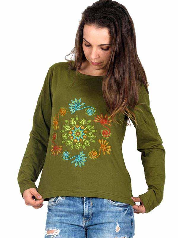 Camiseta M Larga bordados Flores Comprar - Venta Mayorista y detalle