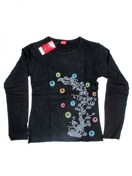 Camiseta M Larga bordados Tree - Negro Comprar al mayor o detalle