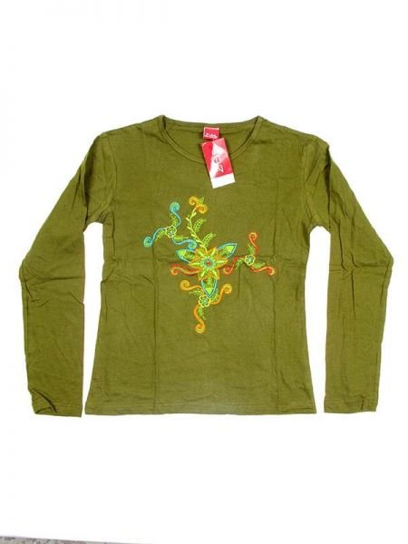 Camiseta M Larga bordado Flor - Verde Comprar al mayor o detalle