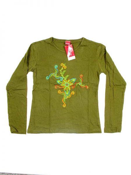 Camiseta de algodón de manga larga bordados flor de colores Comprar - Venta Mayorista y detalle