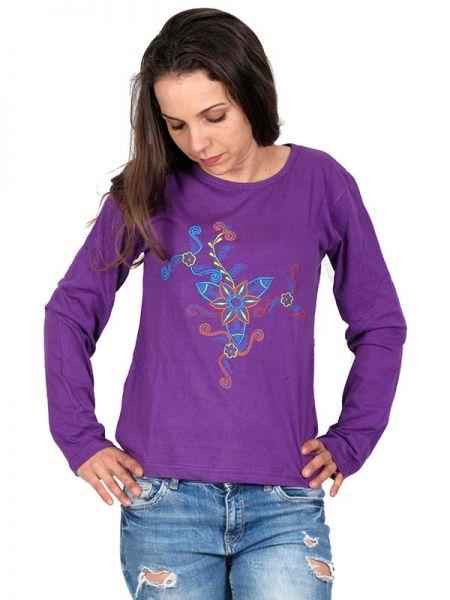 Camiseta M Larga bordado Flor - Detalle Comprar al mayor o detalle