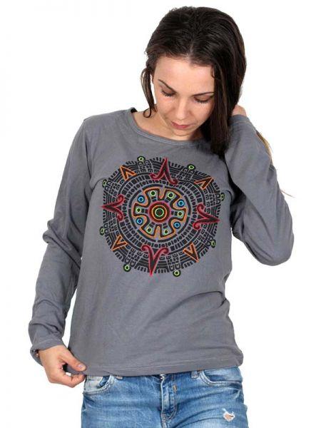 Camiseta M Larga bordado Mandala central - Detalle Comprar al mayor o detalle