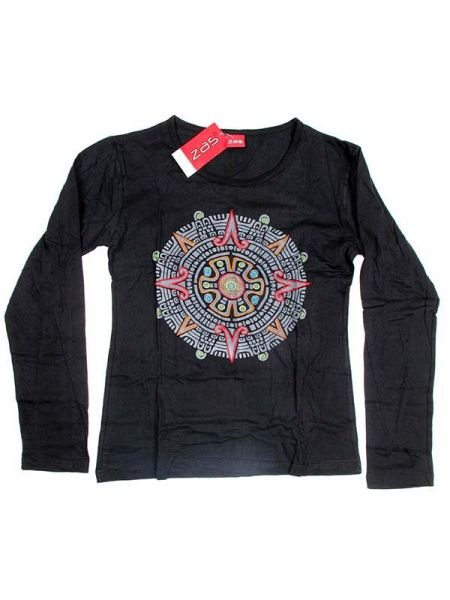 Camiseta M Larga bordado Mandala central - Negro Comprar al mayor o detalle