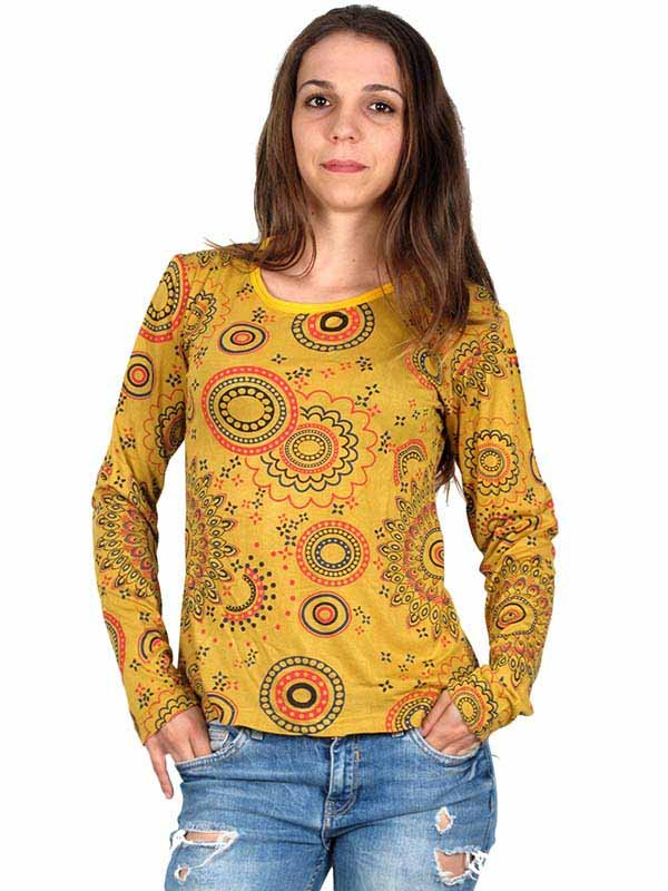 Camiseta M Larga estampado Mandalas CAEV13 para comprar al por mayor o detalle  en la categoría de Ropa Hippie Alternativa para Mujer.