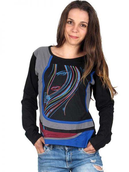 Camiseta de algodón de manga larga Patch bordado de colores Comprar - Venta Mayorista y detalle