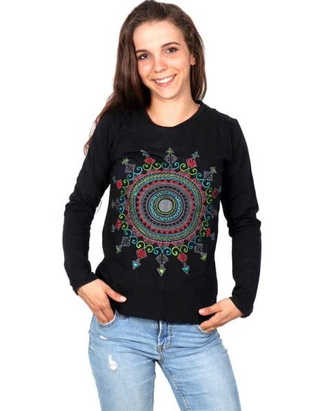 Camisetas de Manga Larga - Camiseta con Bordado Sol Étnico [CAEV16] para comprar al por mayor o detalle  en la categoría de Ropa Hippie Alternativa Chicas.