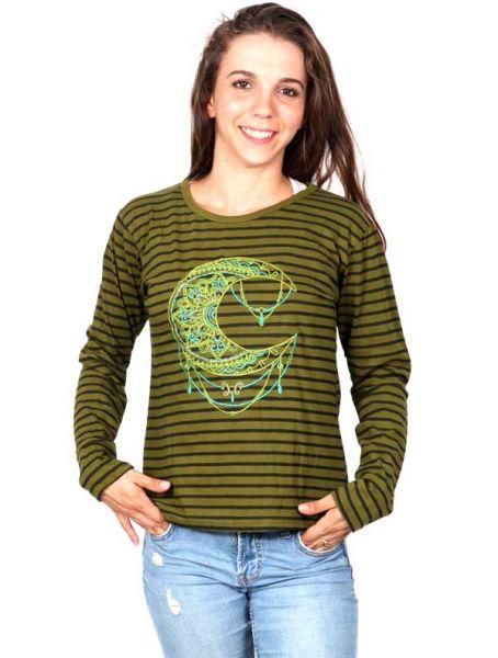 Camisetas de Manga Larga - Camiseta de Rayas con Luna Bordada [CAEV17] para comprar al por mayor o detalle  en la categoría de Ropa Hippie Alternativa para Mujer.