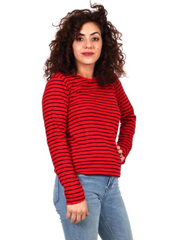 Camisetas de Manga Larga - Camiseta de Rayas con Capucha [CAEV18] para comprar al por mayor o detalle  en la categoría de Ropa Hippie Alternativa para Mujer.