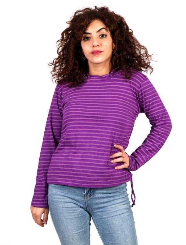 Camisetas de Manga Larga - Camiseta de Rayas con Capucha CAEV18B para comprar al por Mayor o Detalle en la categoría de Ropa Hippie para Mujer