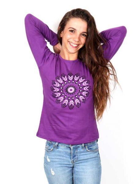 Camiseta con Flor Étnica Estampada - Detalle Comprar al mayor o detalle